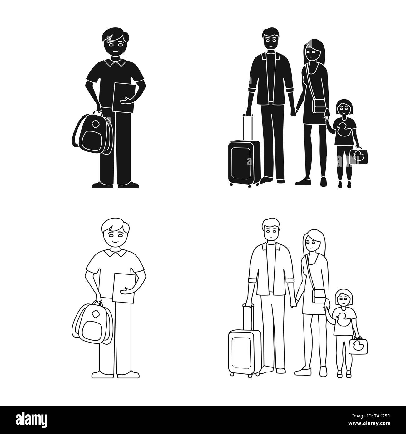Isolated object of character and avatar  icon. Set of character and portrait vector icon for stock. - Stock Image