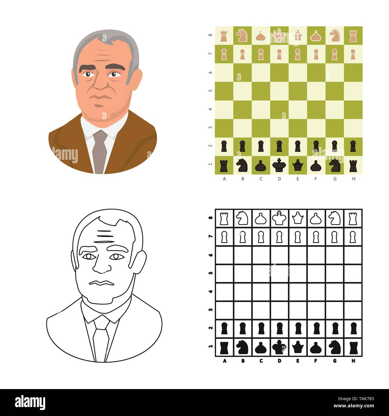 Vector design of checkmate and thin icon. Collection of checkmate and target stock symbol for web. - Stock Image