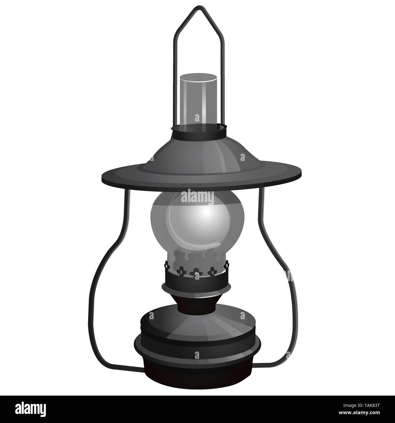 Portable kerosene lamp isolated on white background. Vector cartoon close-up illustration. - Stock Vector