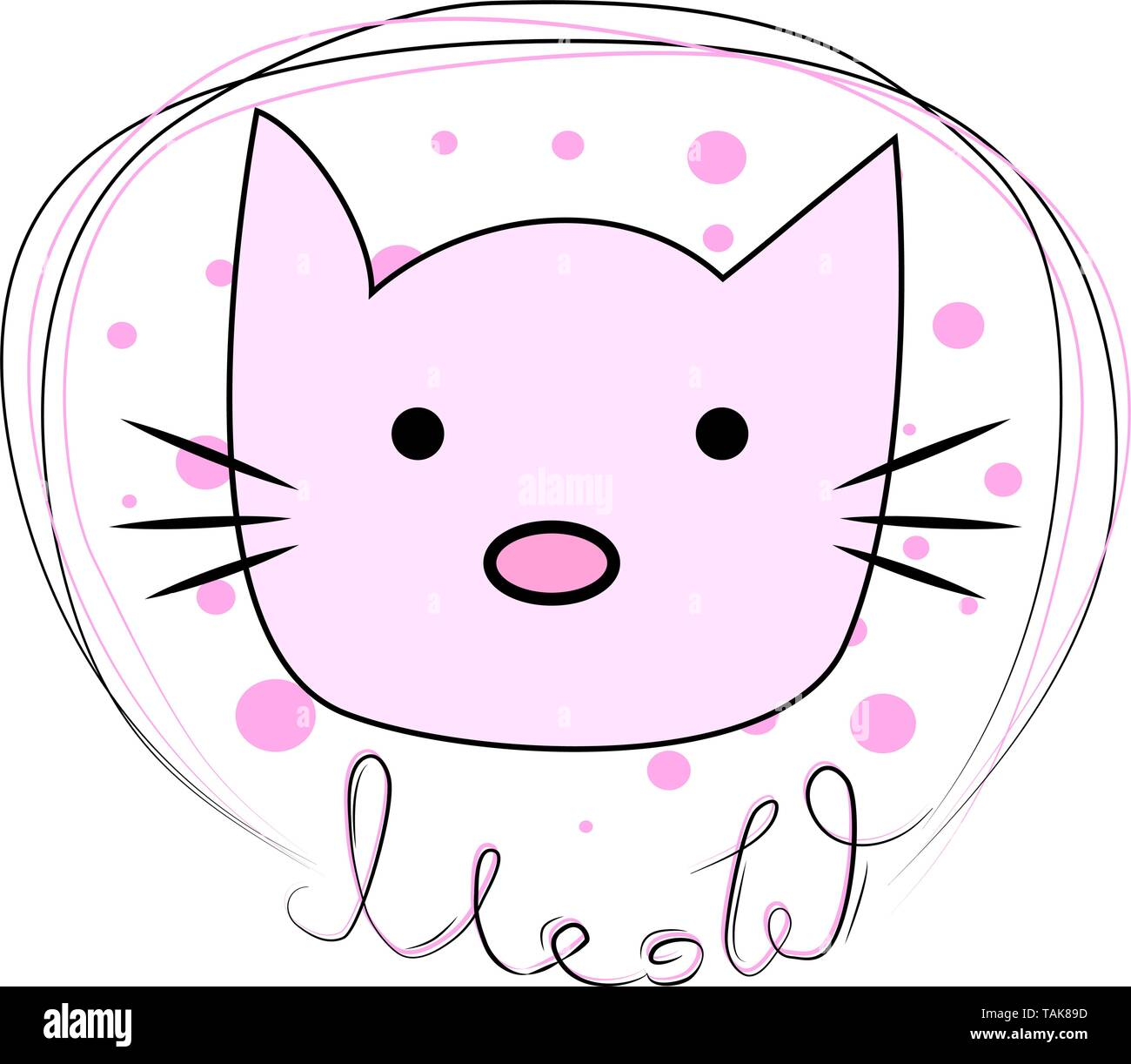 Hand drawn illustration of a funny cat face in a chain, with text Meow. Design concept for children. - Stock Image