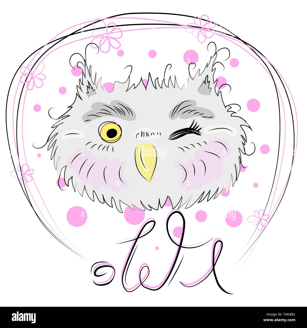 Cute owl face in a floral frame with a bow, owl, design, trendy, gray, pink - Stock Image