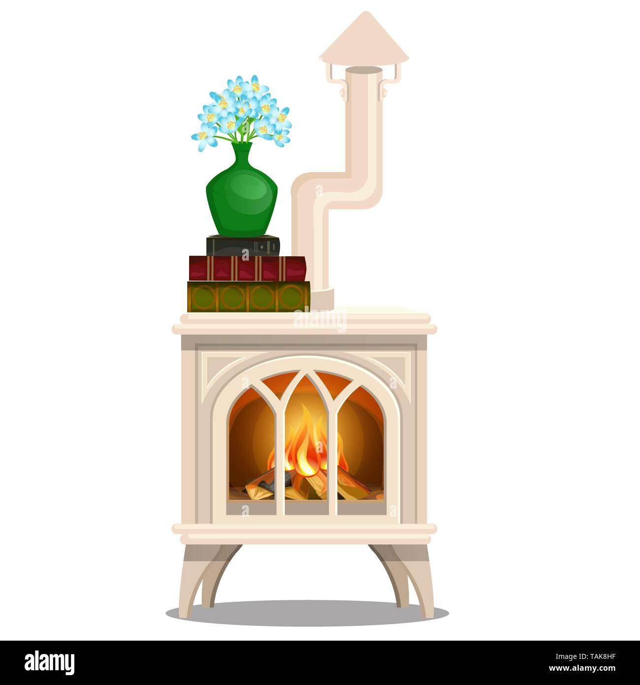 Elegant white stove with books and vase with blue flowers isolated on white background. Vector cartoon close-up illustration - Stock Image