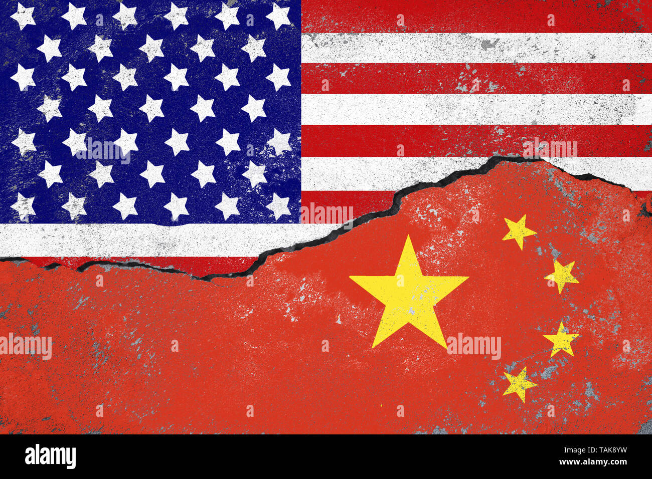 USA and China conflict concept.Flags of USA and China painted on cracked wall. - Stock Image
