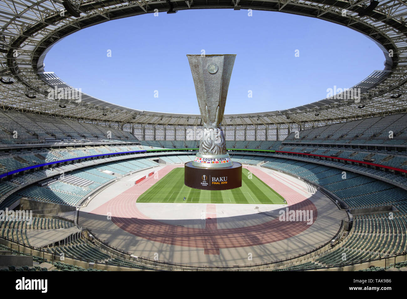Azerbaijan, Baku - May 26: UEFA Champions League . Baku Olympic Stadium Final 2019 . Coupe Uefa . Europa League 2019 . The final cup in the middle of  - Stock Image