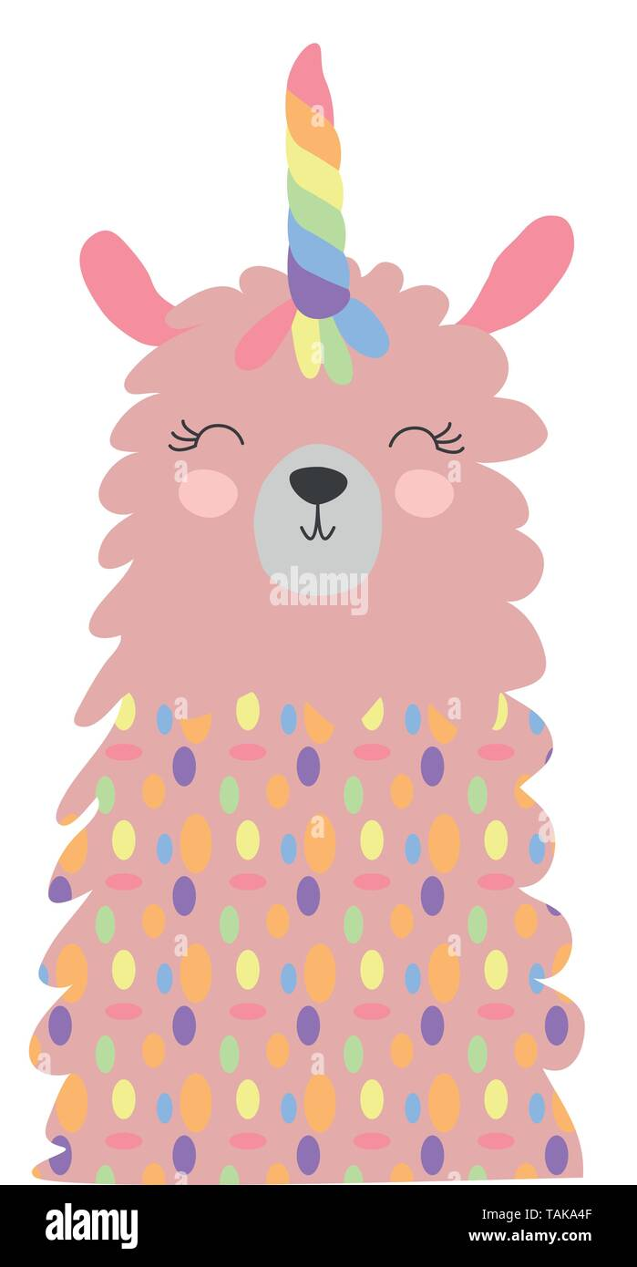 Cute lama with a unicorn horn in the color of the rainbow. Lamacorn. Vector illustration in the Scandinavian style. - Stock Image