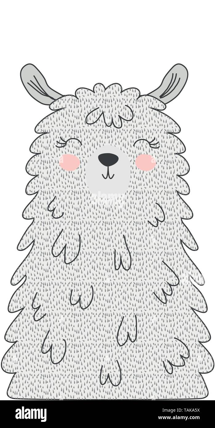 Hand drawn vector illustration of a cute funny llama face Scandinavian style flat design. Concept - Stock Image