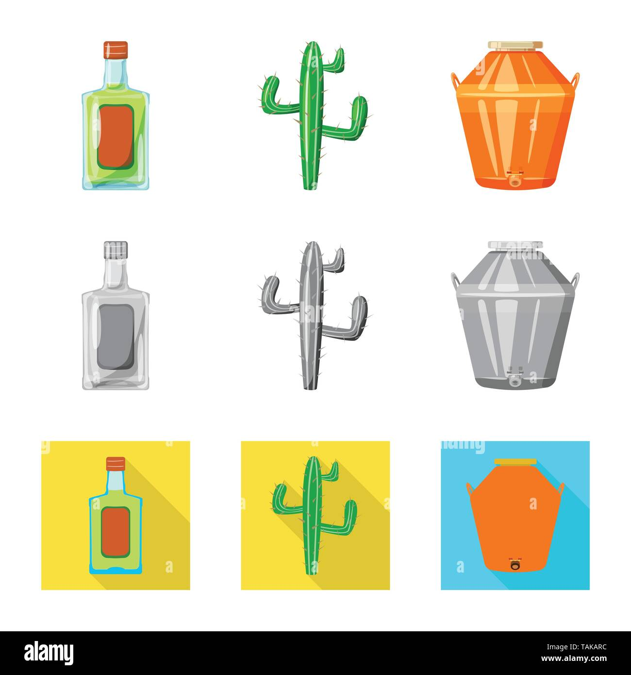 Isolated object of cafe and Latin symbol. Collection of cafe and national stock vector illustration. - Stock Image