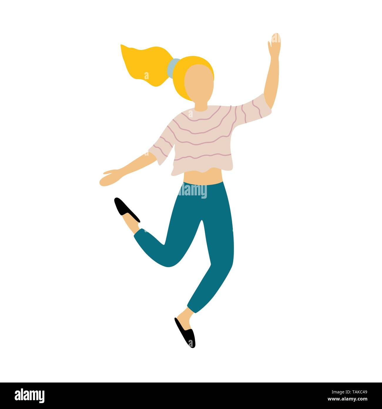 The girl rejoices and jumps. Dancing woman. Vector illustration on white isolated background - Stock Image