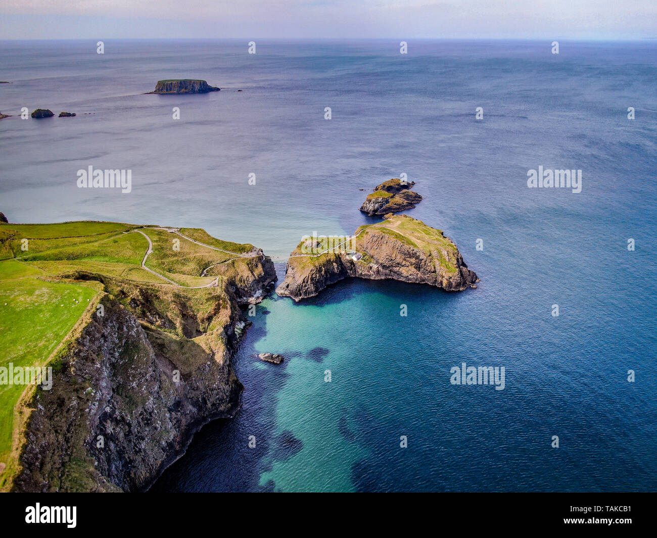 Aerial view over Carrick-A-Rede Rope Bridge in North Ireland - aerial photography - Stock Image