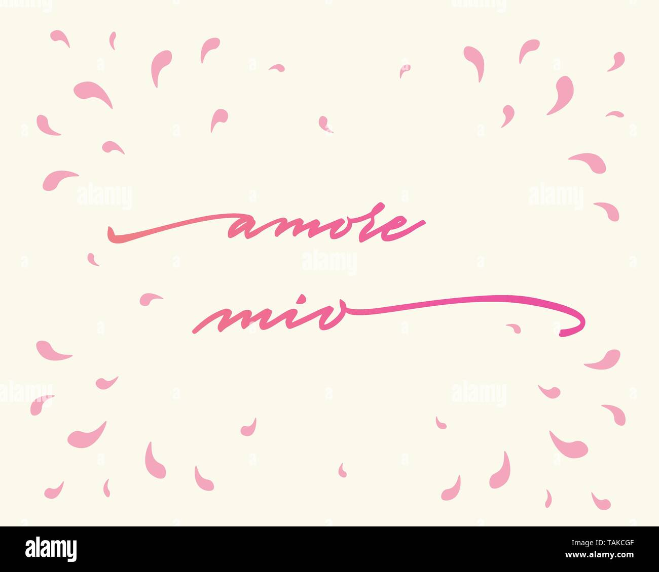 Amore mio Happy Valentine's Day Hand Lettering - Typographical Background Set with ornaments, hearts, ribbon, angel and arrow - Stock Image