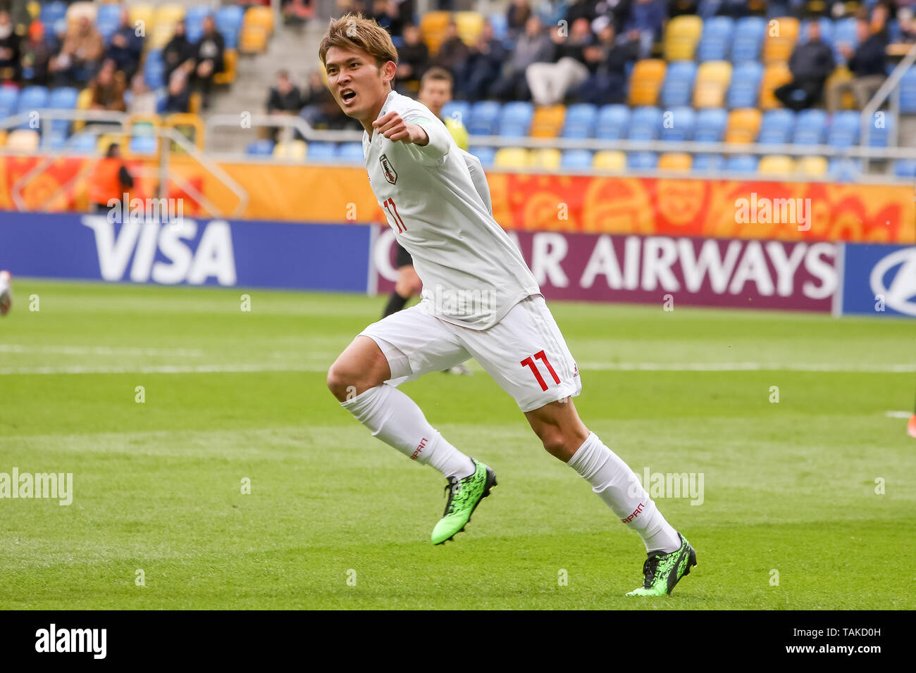 Gdynia Stadium, Gdynia, Poland - 26th May, 2019: Kyosuke Tagawa from Japan seen celebrating after scoring a goal during FIFA U-20 World Cup match between Mexico and Japan (GROUP B) in Gdynia. (Final score; Mexico 0:3 Japan) - Stock Image