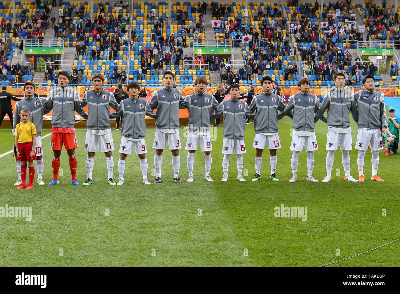 Gdynia Stadium, Gdynia, Poland - 26th May, 2019: National team of Japan seen during teams presentation before FIFA U-20 World Cup match between Mexico and Japan (GROUP B) in Gdynia. (Final score; Mexico 0:3 Japan) - Stock Image