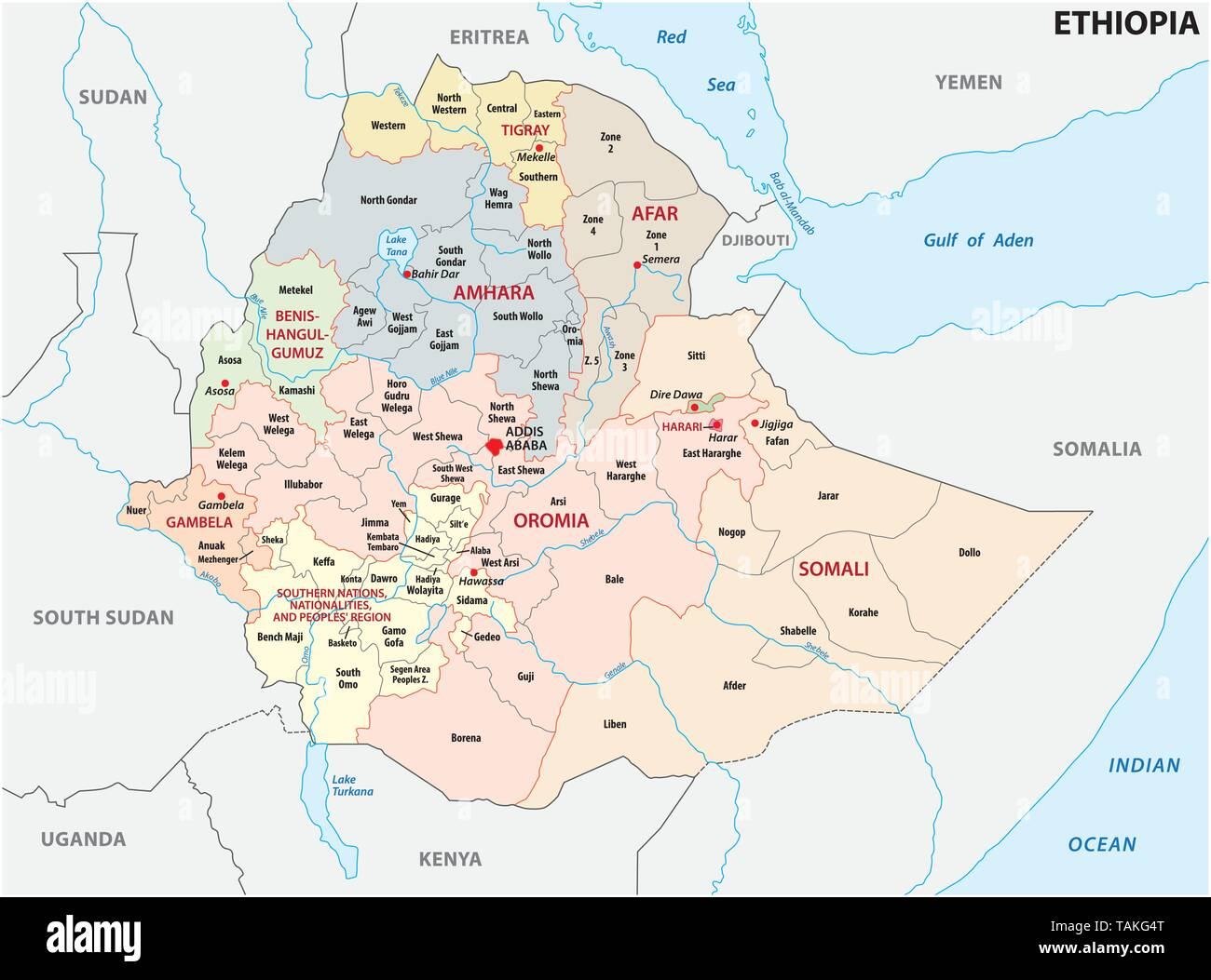 Ethiopia administrative and political map - Stock Vector