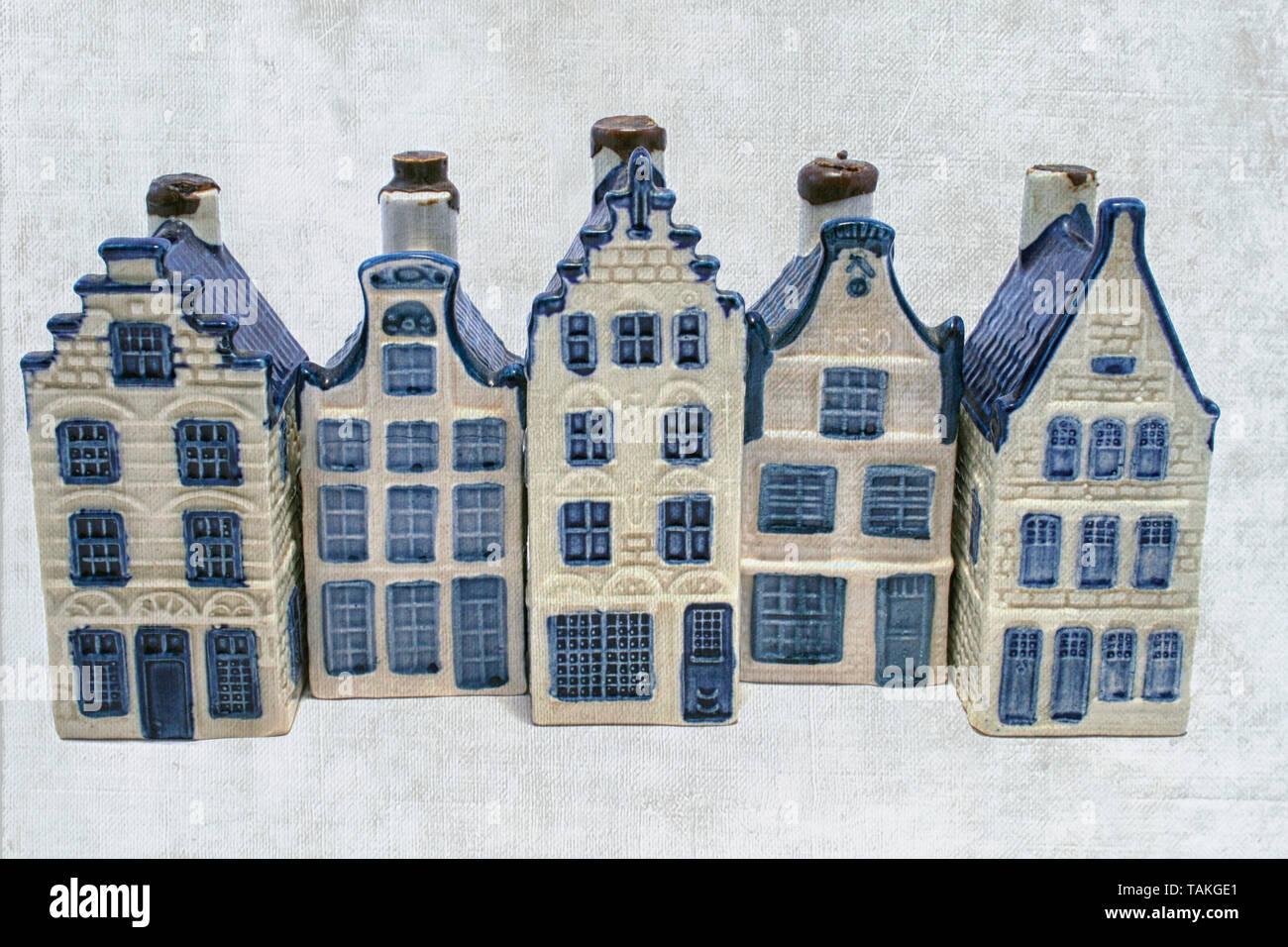 A row of delft blue (aka dutch china) houses - Stock Image