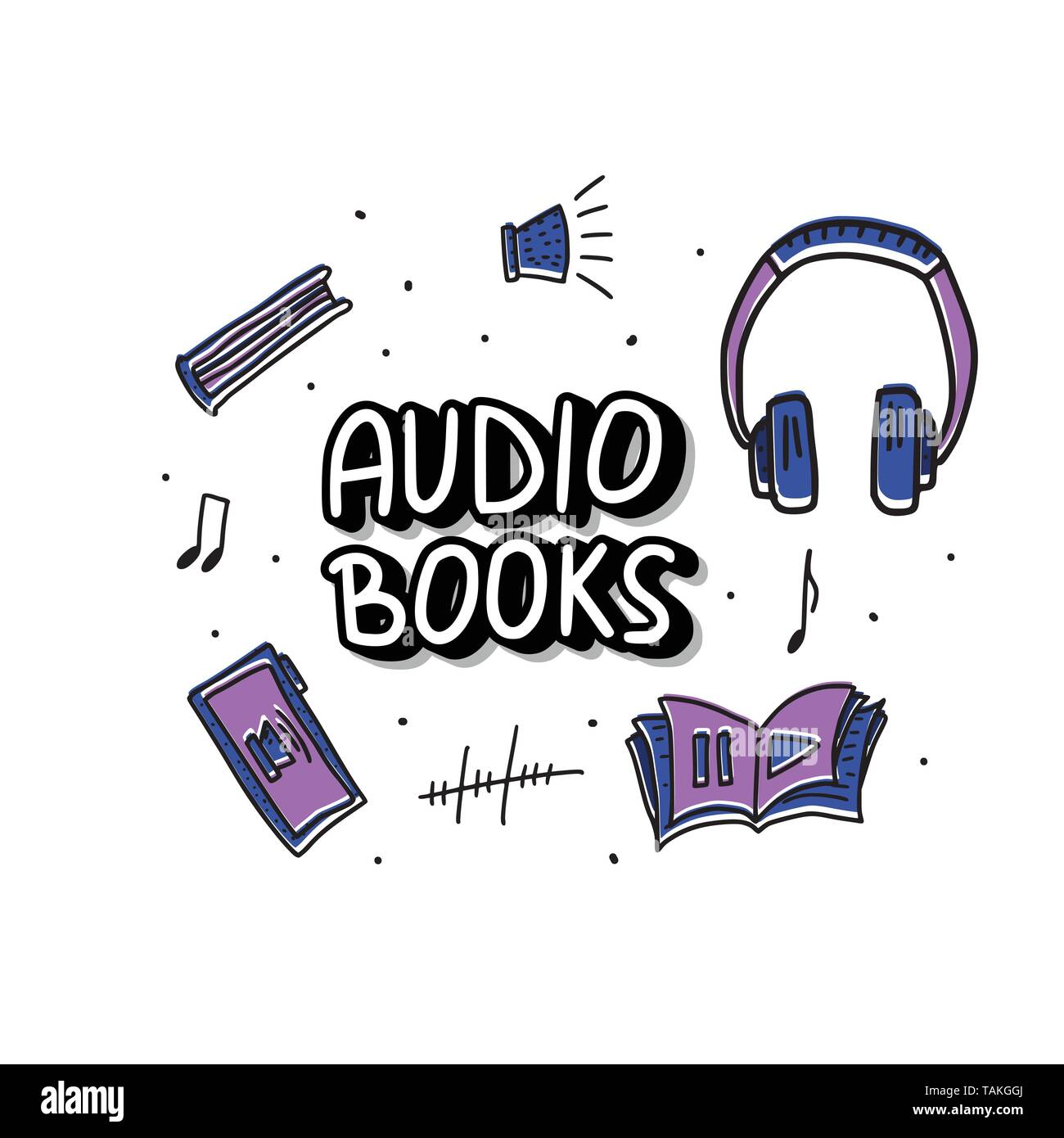 Audiobooks concept. Set of audio book symbols with lettering. Vector illustration. Stock Vector