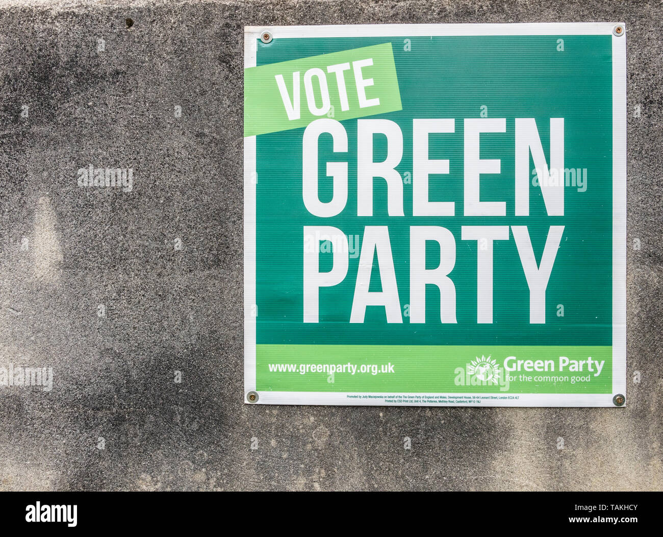 Green Party election poster for 2019 European parliament elections. - Stock Image