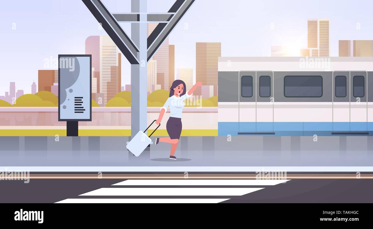 businesswoman running to catch train business woman with luggage on railway station city public transport female cartoon character cityscape - Stock Vector
