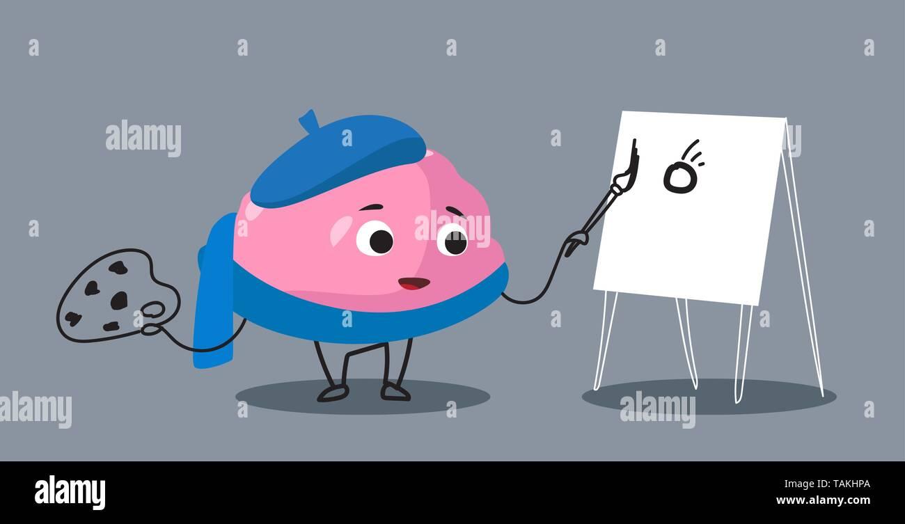 cute human brain organ pink cartoon character painting on easel art creativity concept kawaii style horizontal - Stock Image