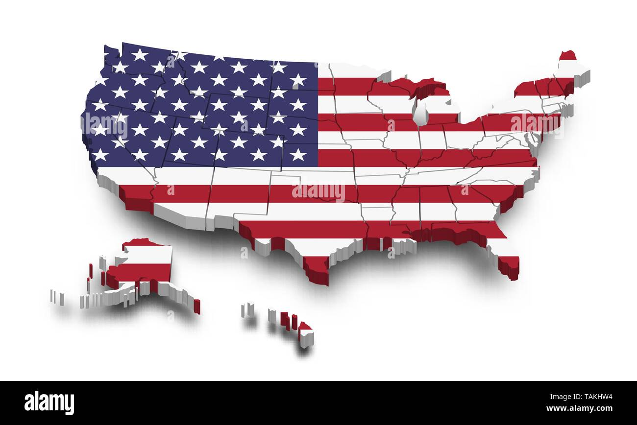 Picture of: United States Of America Map And Flag 3d Shape Design Independence Day Of Usa Concept Perspective View Vector Stock Vector Image Art Alamy