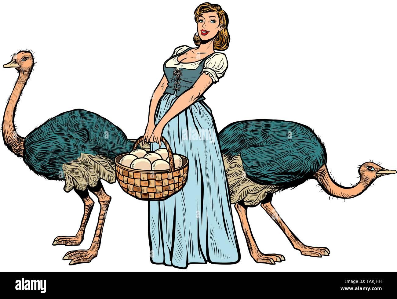 ostrich farm eggs. woman peasant farmer. Pop art retro vector illustration vintage kitsch - Stock Image