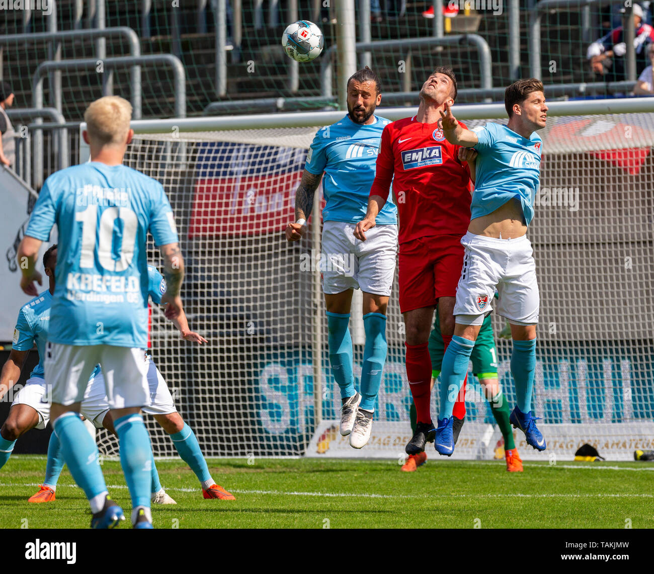 Sport, Fussball, Reviersport Niederrheinpokal, 2018/2019, Finale, Wuppertaler SV vs. KFC Uerdingen 1-2, Stadion Am Zoo in Wuppertal, Spielszene, v.l.n.r. Patrick Pfluecke (KFC), Dominic Maroh (KFC), Gino Windmueller (WSV), Christian Dorda (KFC), sports, football, Lower Rhine Cup, 2018/2019, final, Wuppertaler SV vs. KFC Uerdingen 1-2, Stadium Am Zoo in Wuppertal, scene of the match, f.l.t.r. Patrick Pfluecke (KFC), Dominic Maroh (KFC), Gino Windmueller (WSV), Christian Dorda (KFC) *** Local Caption *** sports, football, Lower Rhine Cup, 2018/2019, final, Wuppertaler SV vs. KFC Uerdingen 1-2, S - Stock Image