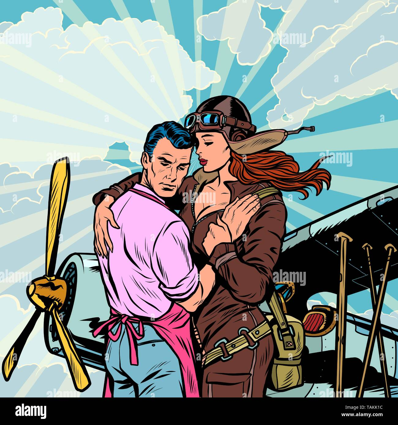 woman pilot says goodbye to a man, a couple in love with a retro plane. Pop art retro vector illustration vintage kitsch - Stock Image