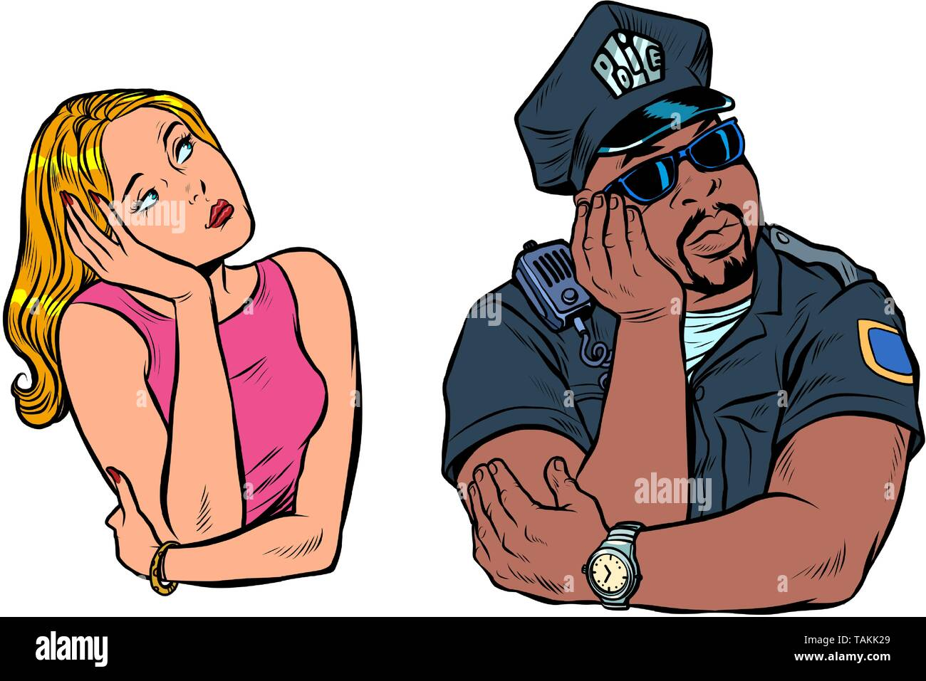multiracial couple, African American COP and white woman. Pop art retro vector illustration vintage kitsch - Stock Image