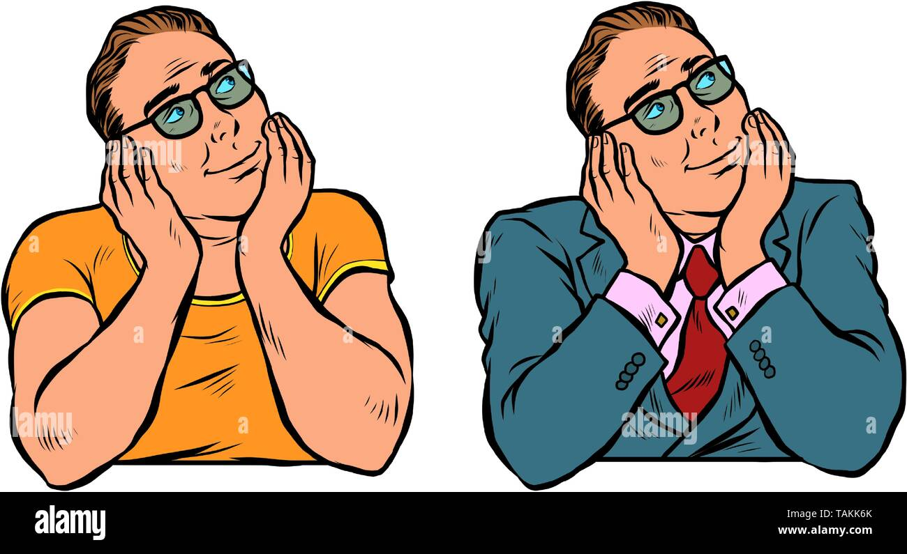 set of dreaming man, businessman and casual. Pop art retro vector illustration vintage kitsch - Stock Image