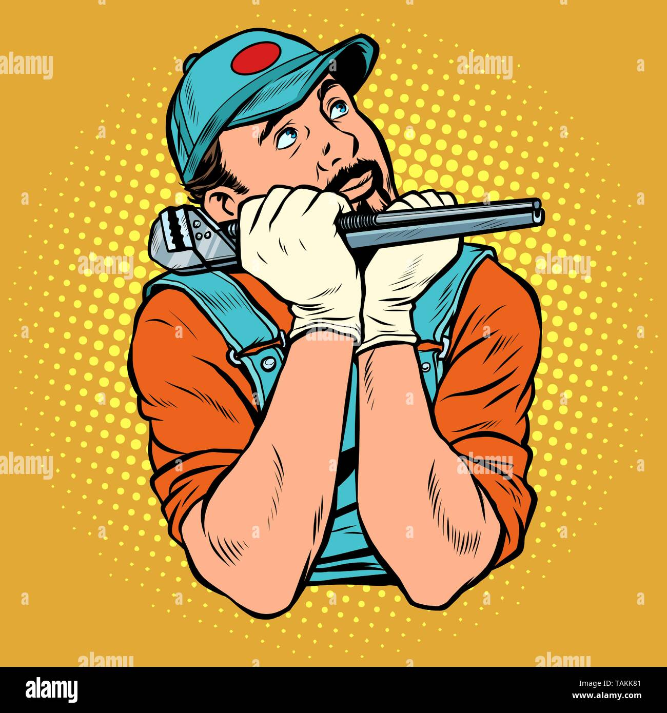 plumber with wrench dreamer thinks. Pop art retro vector illustration vintage kitsch - Stock Image