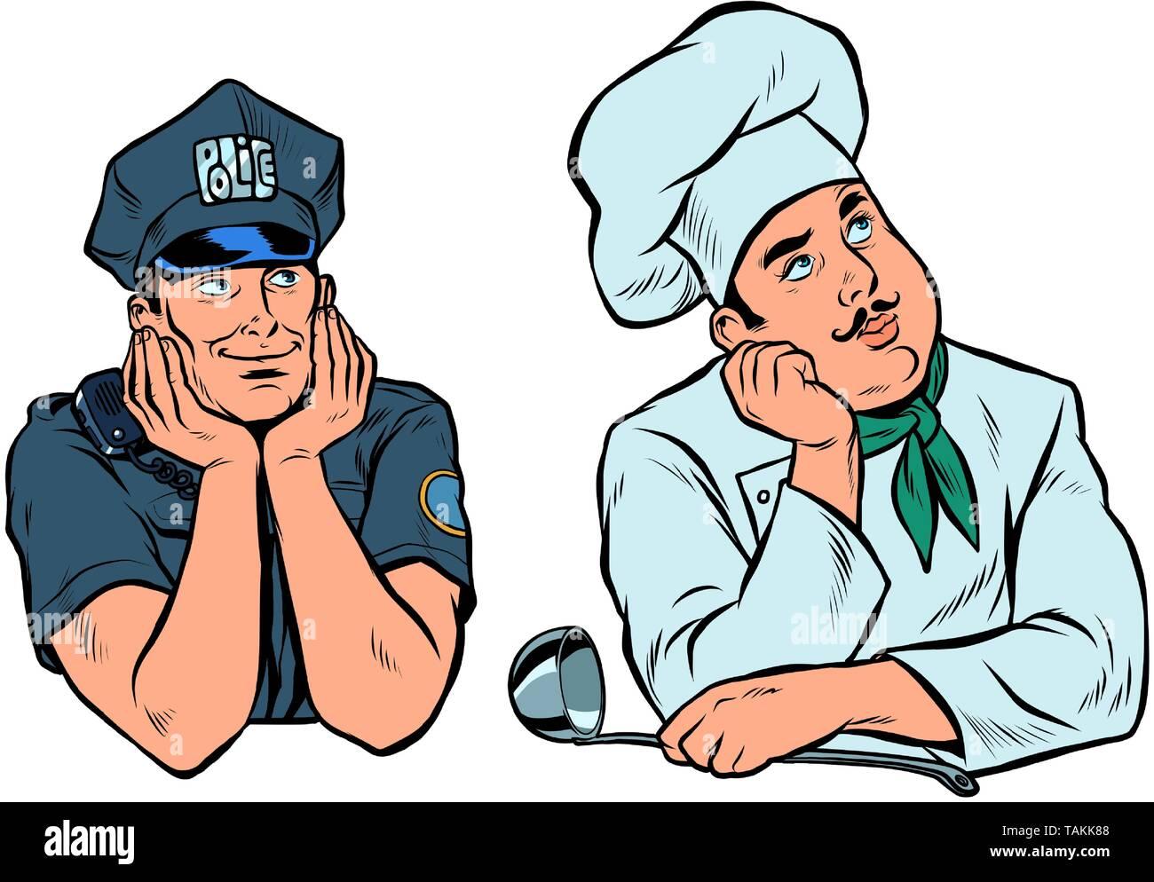 dreaming man, policeman and cook set. Pop art retro vector illustration vintage kitsch - Stock Image