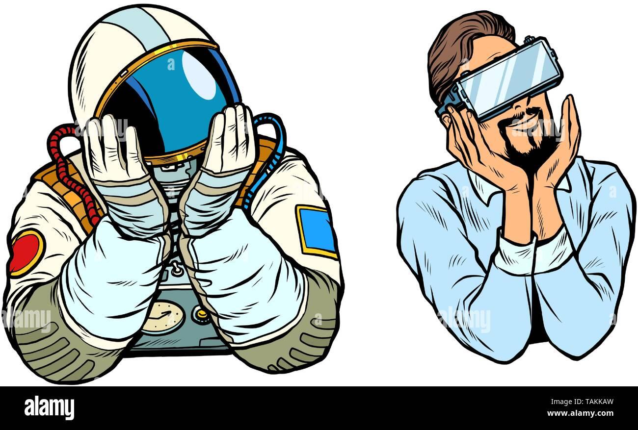 set thinker dreamer man, astronaut and man in vr glasses. Pop art retro vector illustration vintage kitsch - Stock Image