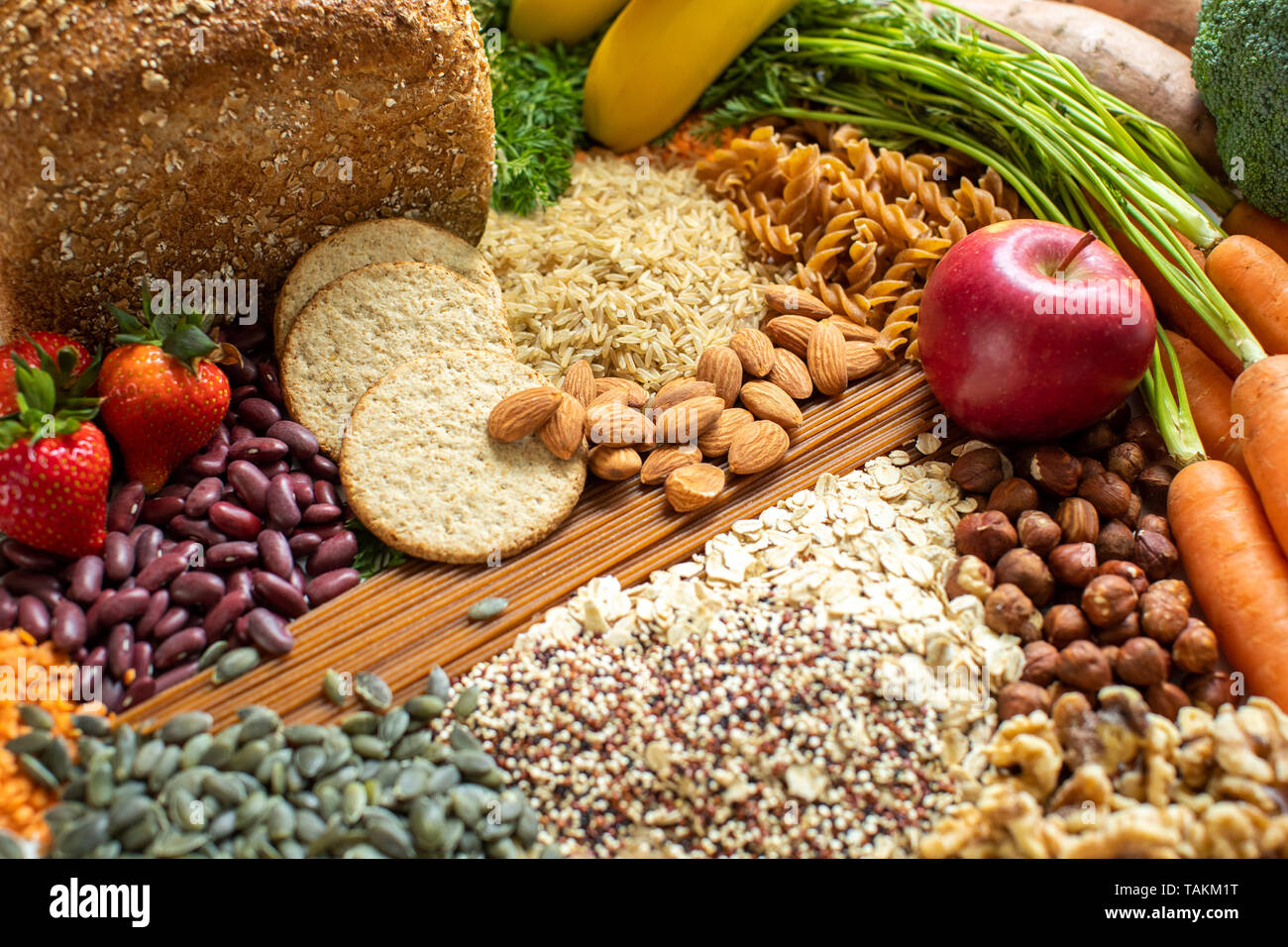 Overhead Shot Of Foods Containing Healthy Or Good Carbohydrates - Stock Image