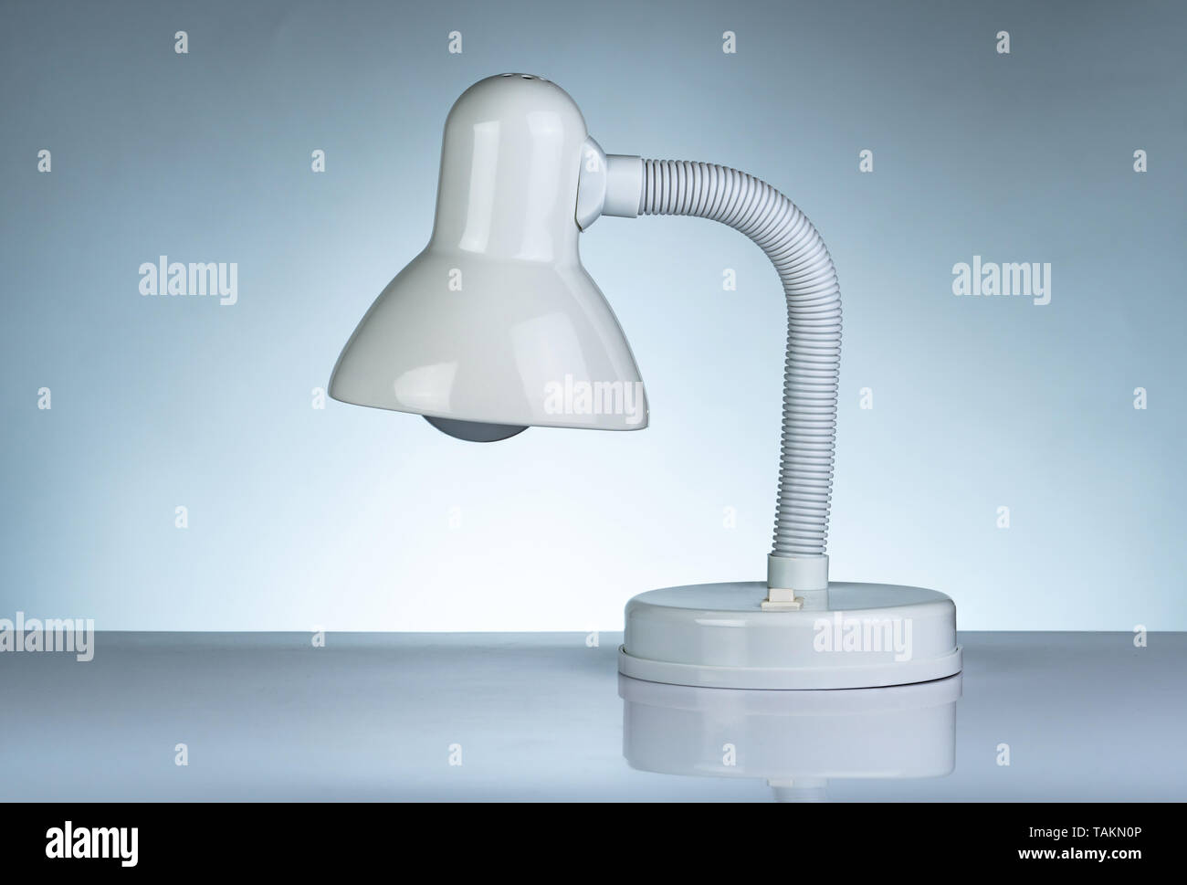 White Modern Table Lamp Isolated On White Table On Gradient Background Desk Lamp For Reading A Book In Dormitory Room Home And Office Furniture Stock Photo Alamy