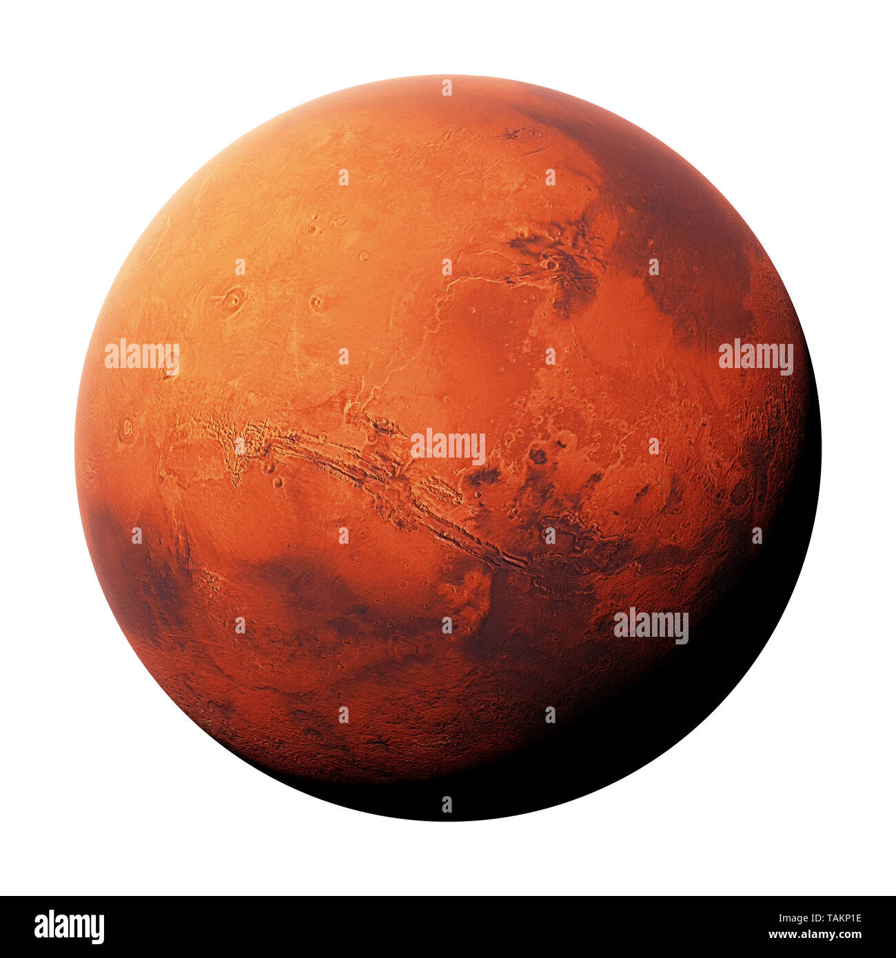 the red planet Mars isolated on white background, part of the solar system (3d space rendering, elements of this image are furnished by NASA) - Stock Image