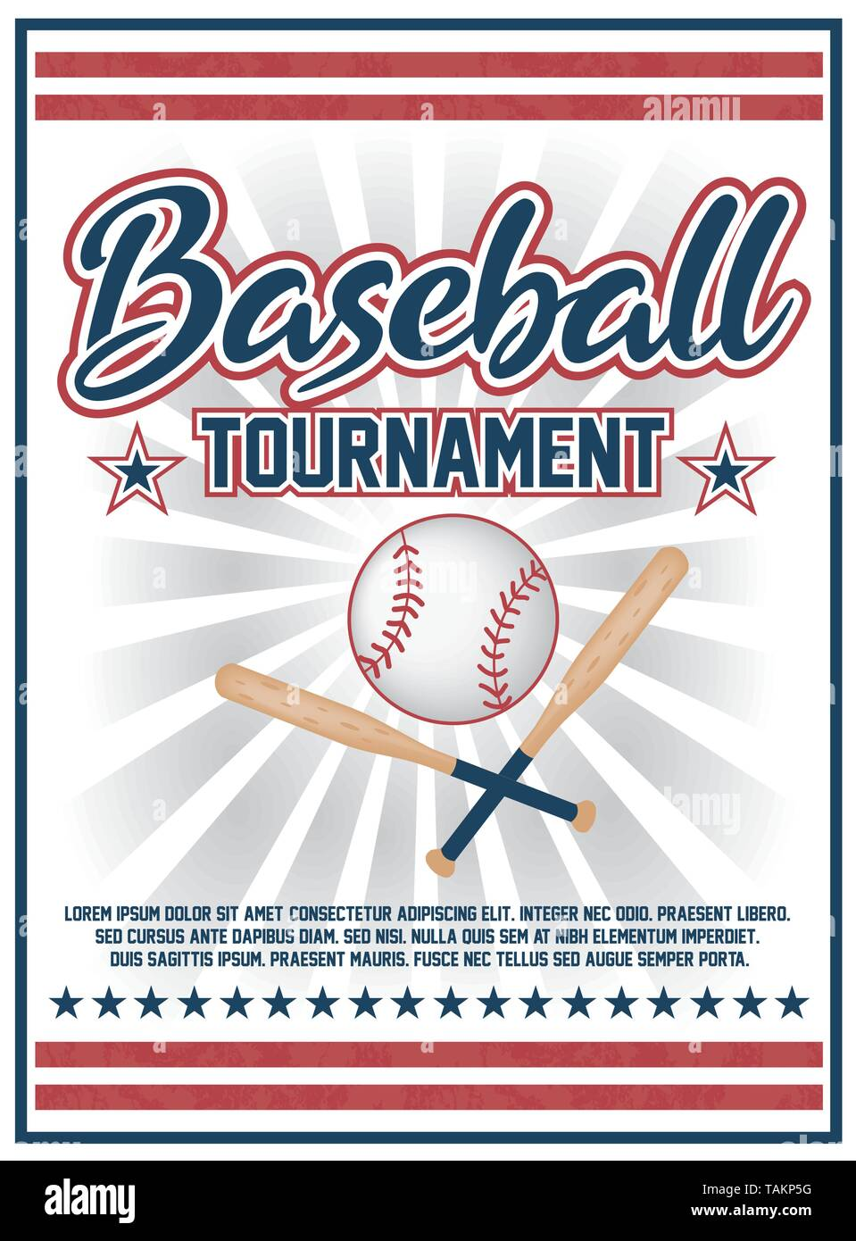 Baseball league tournament flyer poster design vector Stock Vector