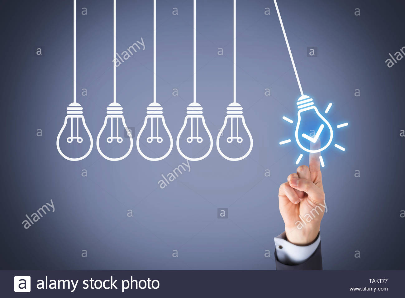 Idea Solution Concepts with Light Bulb on Visual Screen Stock Photo