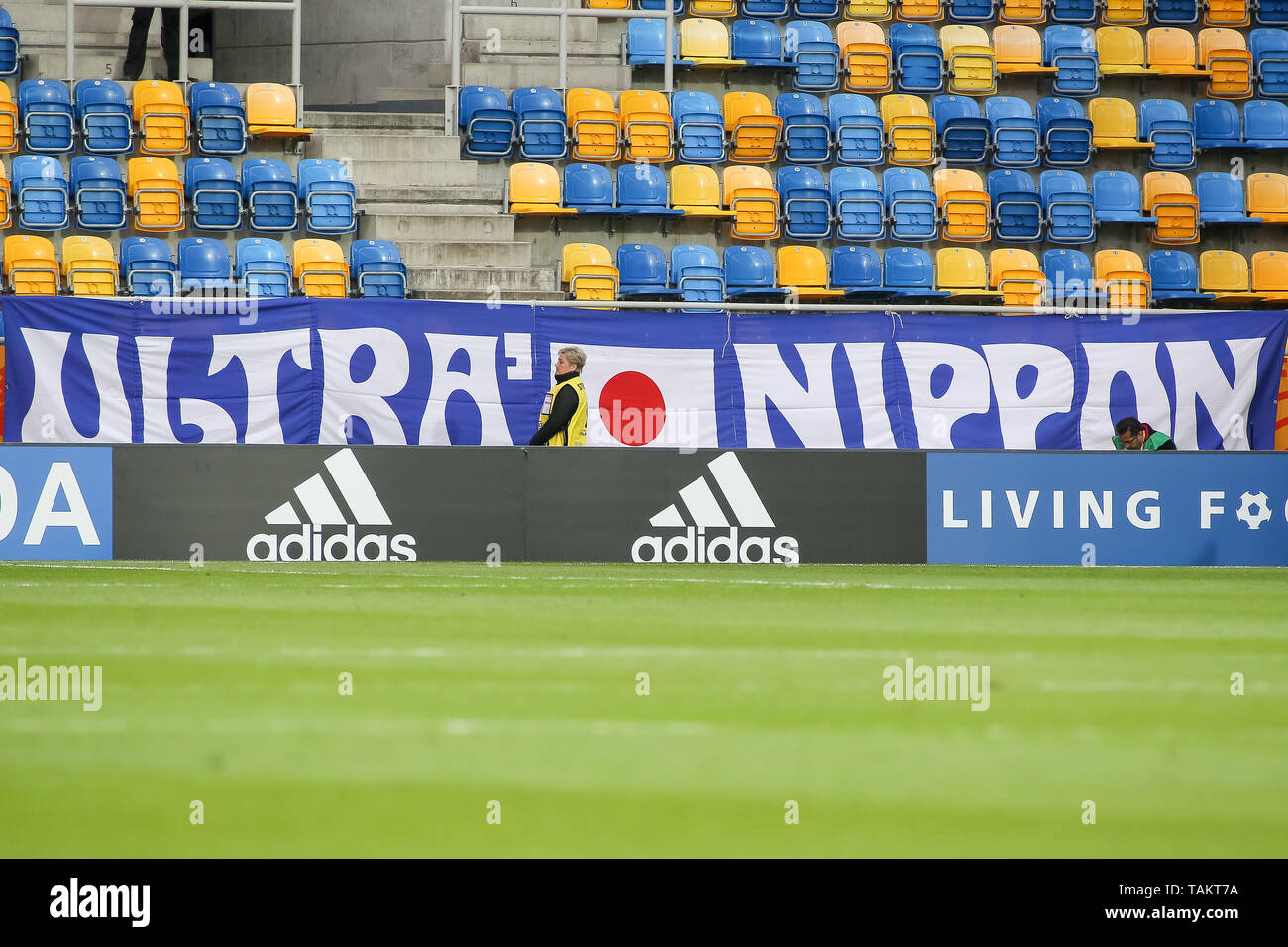 Gdynia Stadium, Gdynia, Poland - 26th May, 2019: Japan Ultras Nippon flag seen during FIFA U-20 World Cup match between Mexico and Japan (GROUP B) in Gdynia. (Final score; Mexico 0:3 Japan) - Stock Image