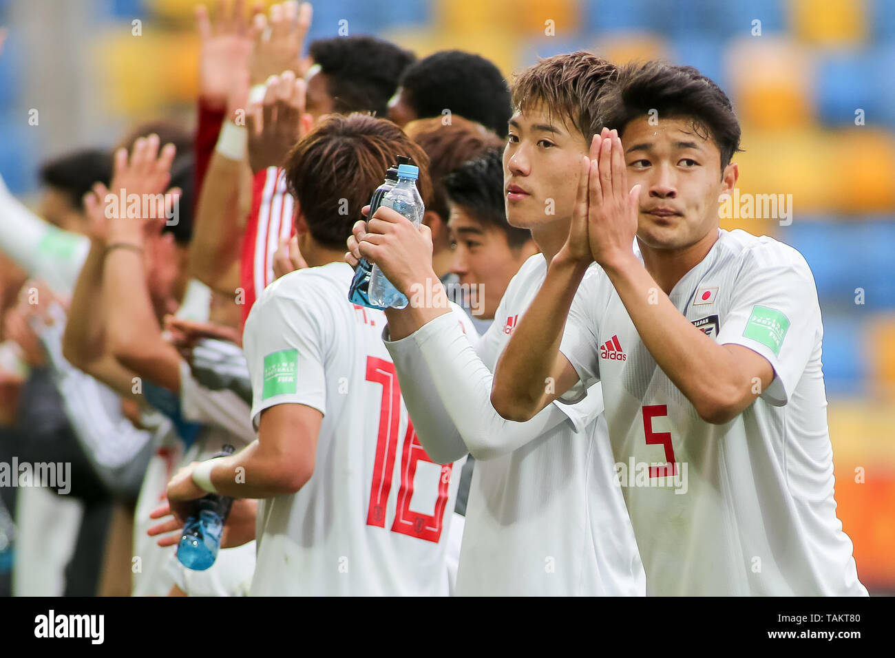 Gdynia Stadium, Gdynia, Poland - 26th May, 2019: Yukinari Sugawara, Ayumu Seko from Japan are seen thanking after  FIFA U-20 World Cup match between Mexico and Japan (GROUP B) in Gdynia. (Final score; Mexico 0:3 Japan) - Stock Image