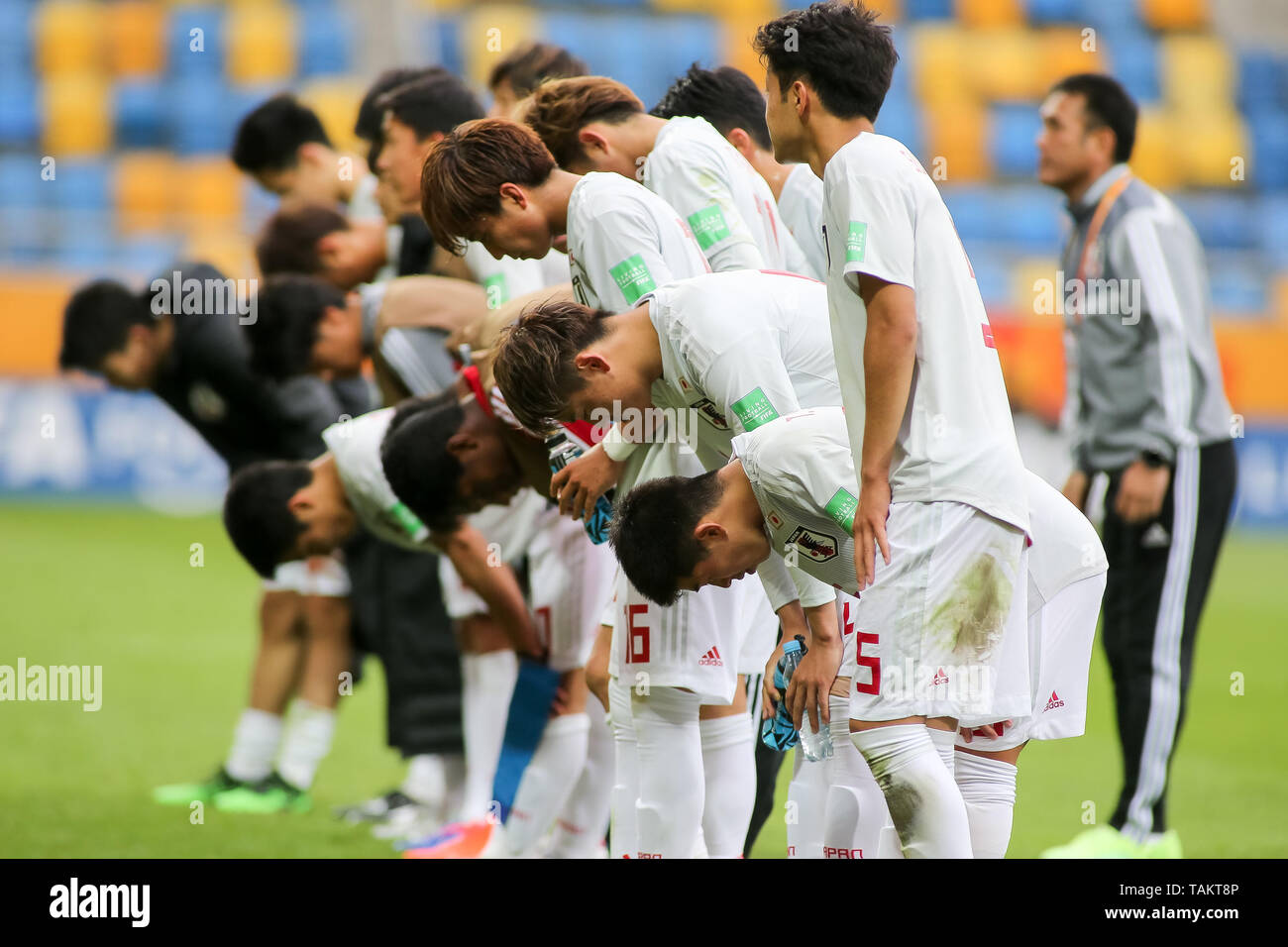 Gdynia Stadium, Gdynia, Poland - 26th May, 2019: National team of Japan are seen bowing in front of Japan fanes after FIFA U-20 World Cup match between Mexico and Japan (GROUP B) in Gdynia. (Final score; Mexico 0:3 Japan) - Stock Image