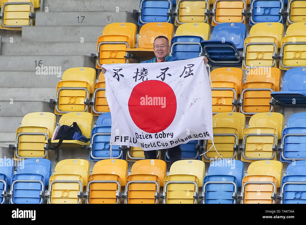 Gdynia Stadium, Gdynia, Poland - 26th May, 2019: Japan supporter with japan flag seen on tribune during FIFA U-20 World Cup match between Mexico and Japan (GROUP B) in Gdynia. (Final score; Mexico 0:3 Japan) - Stock Image