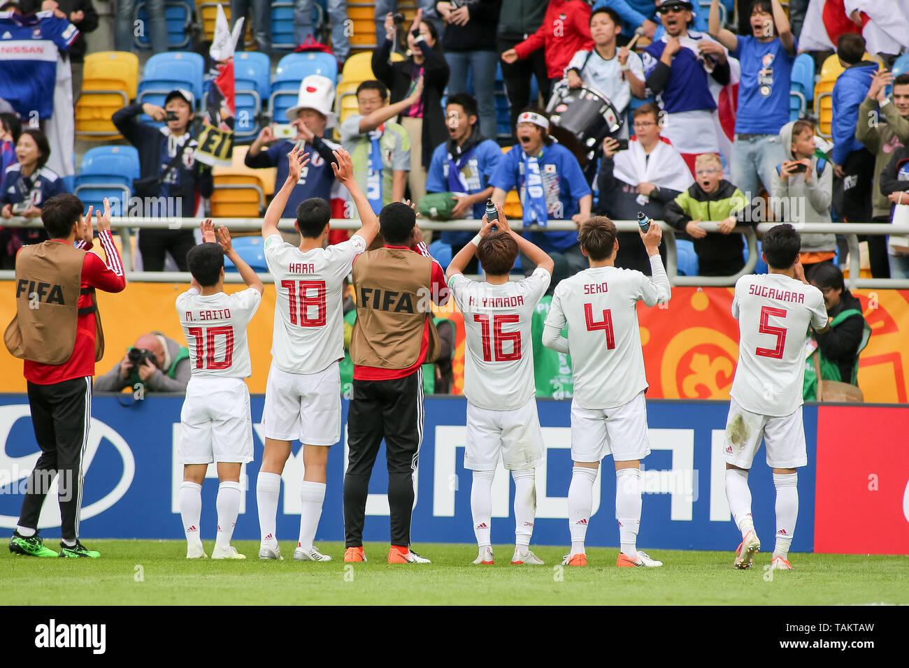 Gdynia Stadium, Gdynia, Poland - 26th May, 2019: Mitsuki Saito (c), Taichi Hara, Kota Yamada, Ayumu Seko, Yukinari Sugawara from Japan are seen thanking Japan fans after FIFA U-20 World Cup match between Mexico and Japan (GROUP B) in Gdynia. (Final score; Mexico 0:3 Japan) - Stock Image