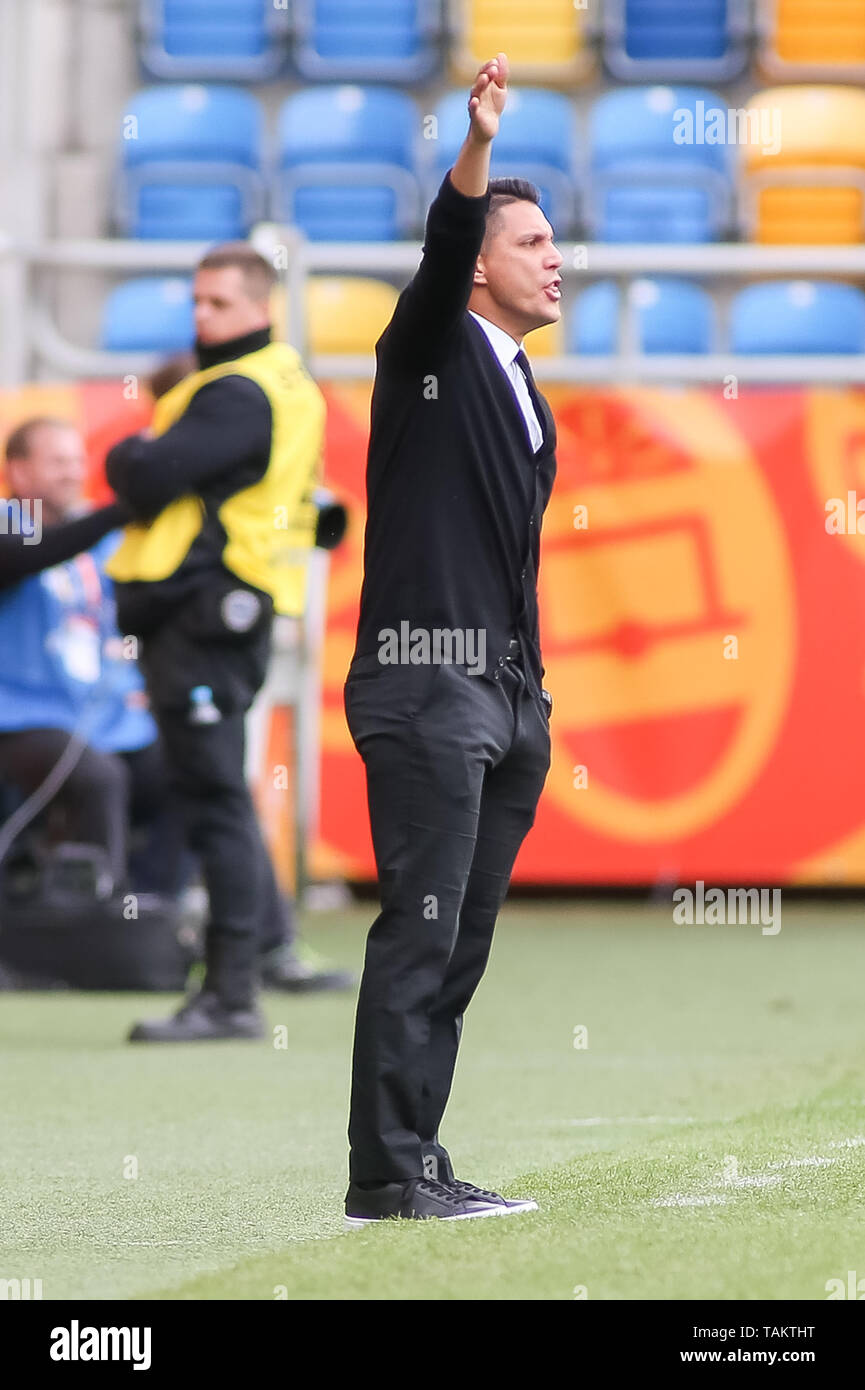 Gdynia Stadium, Gdynia, Poland - 26th May, 2019: Diego Ramirez, head coach from Mexico seen signals to his players during FIFA U-20 World Cup match between Mexico and Japan (GROUP B) in Gdynia. (Final score; Mexico 0:3 Japan) - Stock Image
