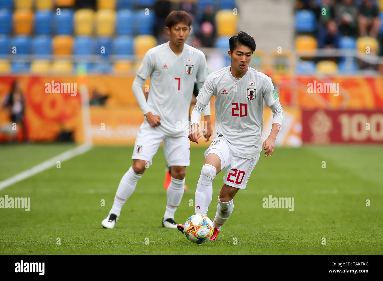 Gdynia Stadium, Gdynia, Poland - 26th May, 2019: Keito Nakamura from Japan seen in action during FIFA U-20 World Cup match between Mexico and Japan (GROUP B) in Gdynia. (Final score; Mexico 0:3 Japan) - Stock Image