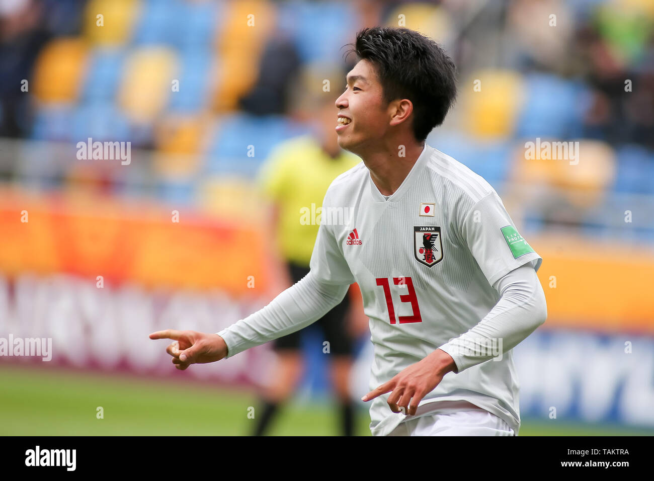 Gdynia Stadium, Gdynia, Poland - 26th May, 2019: Taisei Miyashiro from Japan celebrating after scoring a goal during FIFA U-20 World Cup match between Mexico and Japan (GROUP B) in Gdynia. (Final score; Mexico 0:3 Japan) - Stock Image