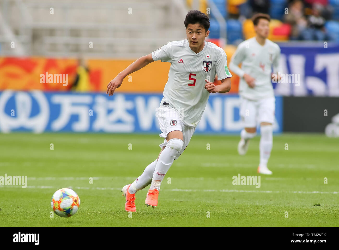 Gdynia Stadium, Gdynia, Poland - 26th May, 2019: Yukinari Sugawara from Japan seen in action during FIFA U-20 World Cup match between Mexico and Japan (GROUP B) in Gdynia. (Final score; Mexico 0:3 Japan) - Stock Image
