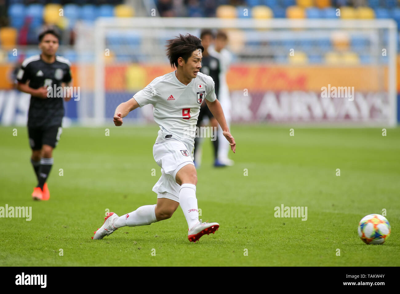 Gdynia Stadium, Gdynia, Poland - 26th May, 2019: Koki Saito from Japan seen in action during FIFA U-20 World Cup match between Mexico and Japan (GROUP B) in Gdynia. (Final score; Mexico 0:3 Japan) - Stock Image