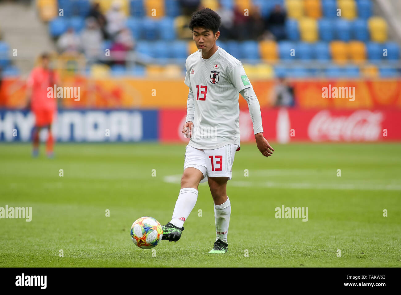 Gdynia Stadium, Gdynia, Poland - 26th May, 2019: Taisei Miyashiro from Japan seen in action during FIFA U-20 World Cup match between Mexico and Japan (GROUP B) in Gdynia. (Final score; Mexico 0:3 Japan) - Stock Image
