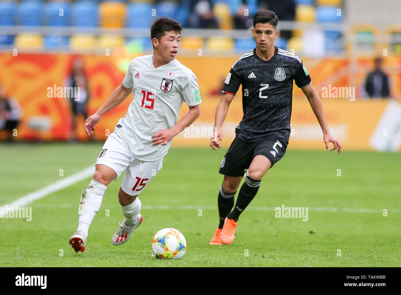 Gdynia Stadium, Gdynia, Poland - 26th May, 2019: Toichi Suzuki(L) from Japan and Kevin Alvarez (R) from Mexico are seen in action during FIFA U-20 World Cup match between Mexico and Japan (GROUP B) in Gdynia. (Final score; Mexico 0:3 Japan) - Stock Image