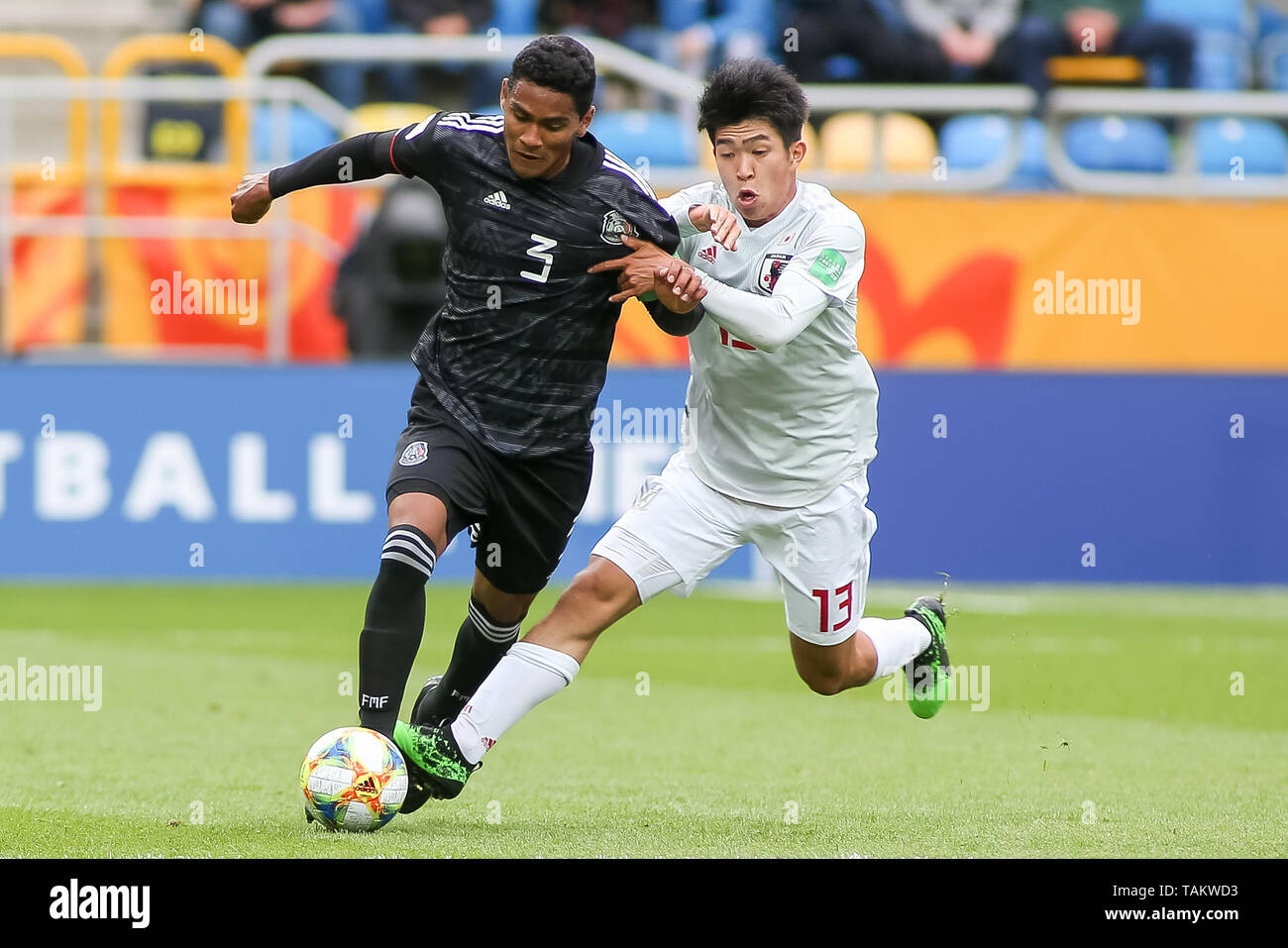 Gdynia Stadium, Gdynia, Poland - 26th May, 2019: Gilberto Sepulveda (L) from Mexico and Taisei Miyashiro (R) from Japan are seen in action during FIFA U-20 World Cup match between Mexico and Japan (GROUP B) in Gdynia. (Final score; Mexico 0:3 Japan) - Stock Image