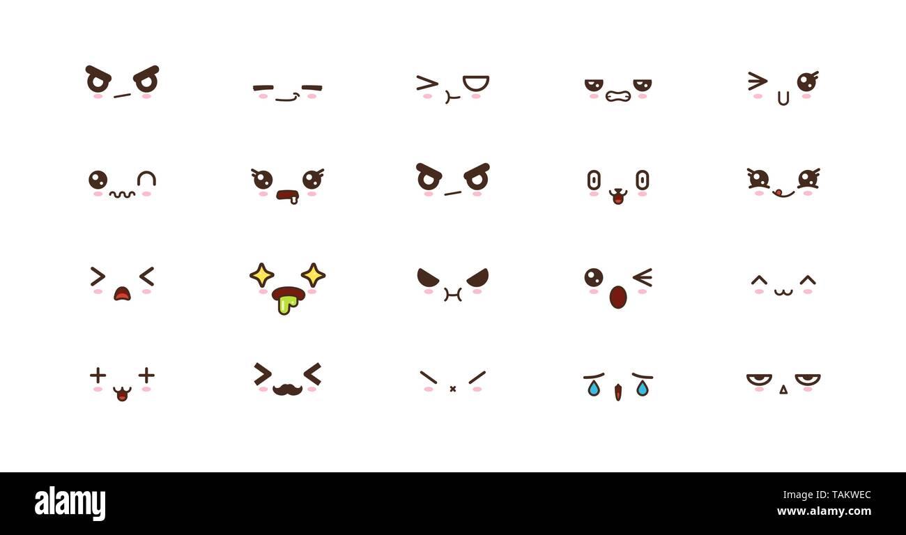 Kawaii faces expressions cute smile emoticons. Japanese emoji - Stock Image